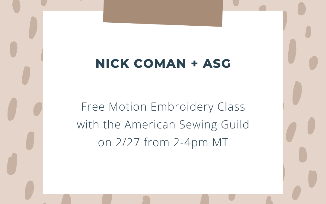 Special invitation to join Nick and ASG!